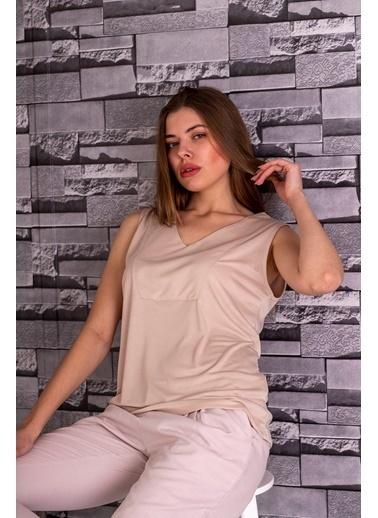 Stamina  Bayan V Yaka Kolsuz Bluz-5VS07 Bej